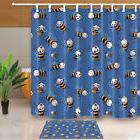 Bee and blue-purple background Shower Curtain set Bathroom H