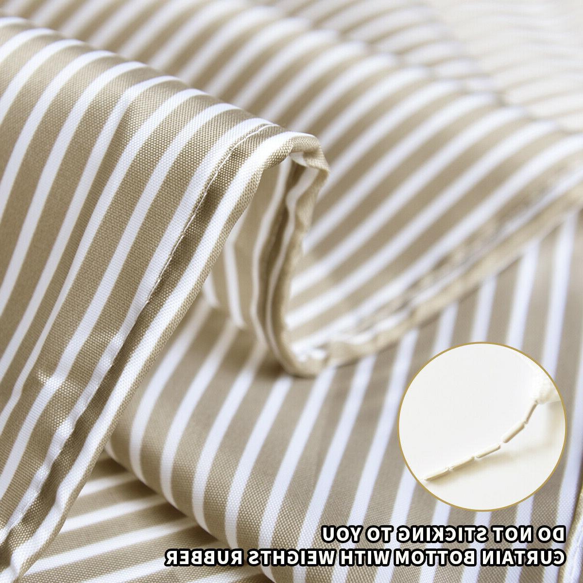 Beige Bathroom Shower Stripes Black,72x72