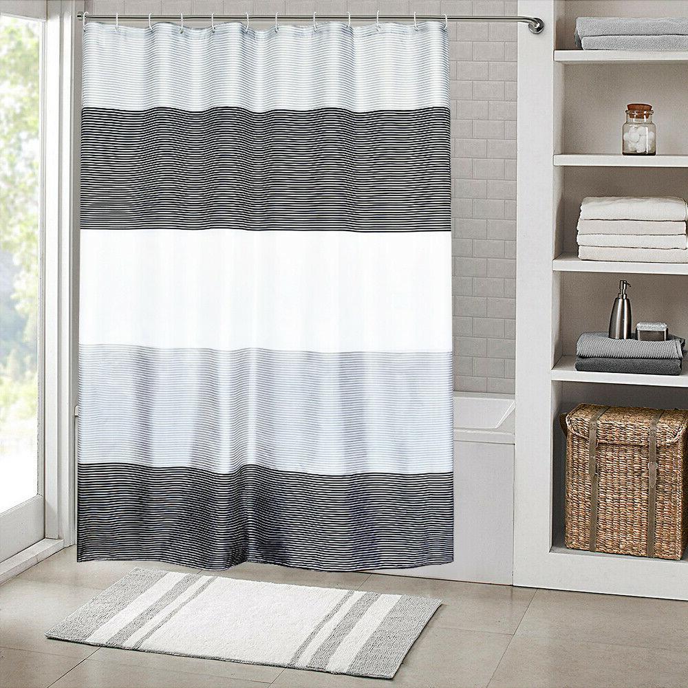 Beige Bathroom Stripes with Black,72x72 Inch