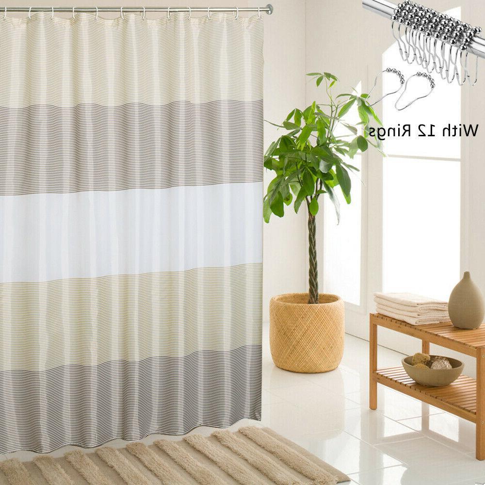Beige Bathroom Shower Curtain Stripes with Black,72x72 Inch