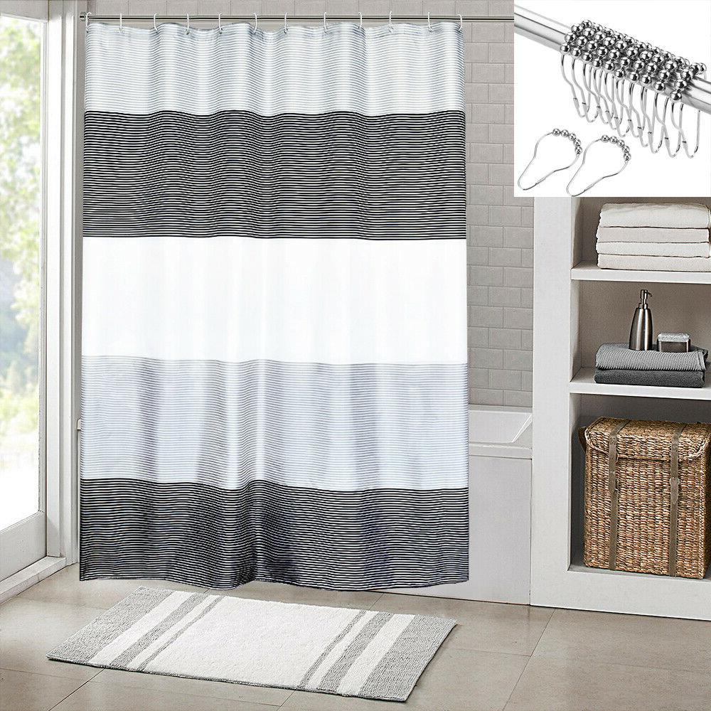 Beige Curtain Stripes Sets Black,72x72