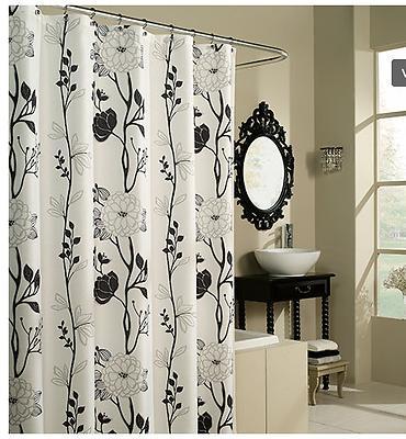 black white flower fabric shower