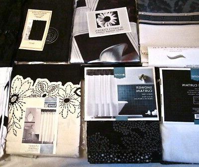 Black//White//Ivory Shower Curtain:Scroll Butterfly Plaid Metallic Greek Key NEW