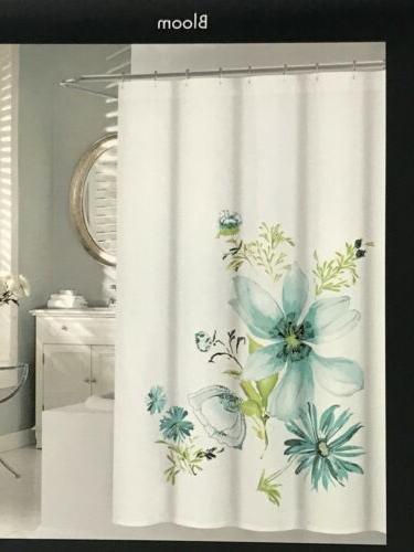 Tahari Floral White Aqua Shower Curtain