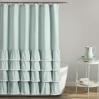 blue ella lace ruffle shower curtain 72