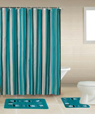 Blue Lines Stripes 15 Pcs Modern Shower Curtain with Hooks B
