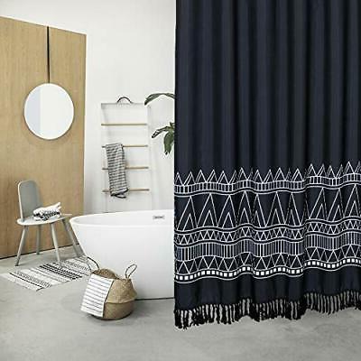 Black Boho Tassel Fabric Shower Curtain 96 Inch Extra Long G