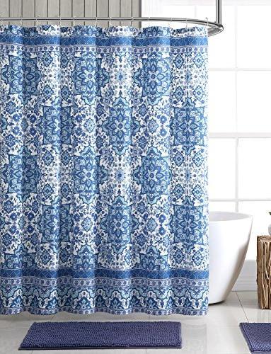 bright blue aqua white fabric