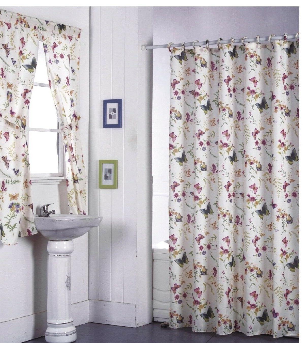 Shower Curtain Drapes + Bathroom Window Set w/ Liner+Rings