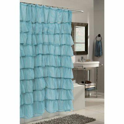 Carnation Home Fashions Carmen Ruffle Tier Fabric Shower Cur