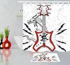 Cartoon Dragon Shower Curtain Sets with 12 Hooks Skull Guita