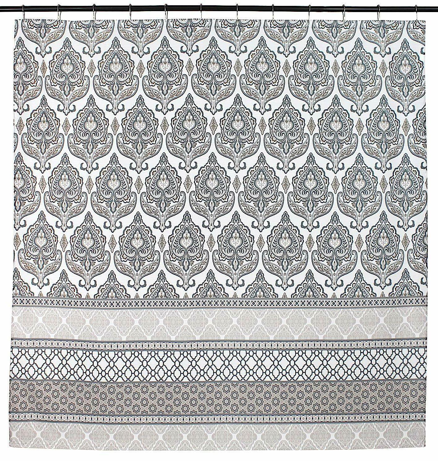 Charcoal Grey Tan Fabric Shower Curtain: Damask Geometric