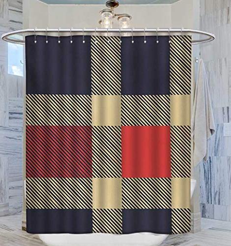 Anhuthree Shower Tartan Display Cross Satin Sets W69 L75 Blue Cream