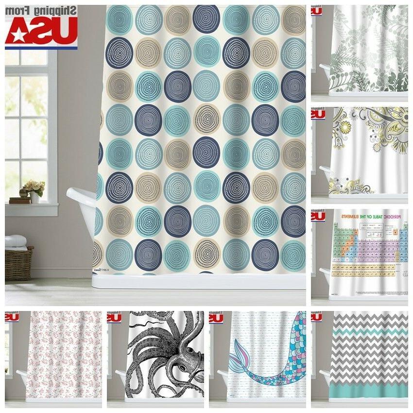 Chevron Mermaid Pattern Waterproof Fabric Shower Curtain Bat