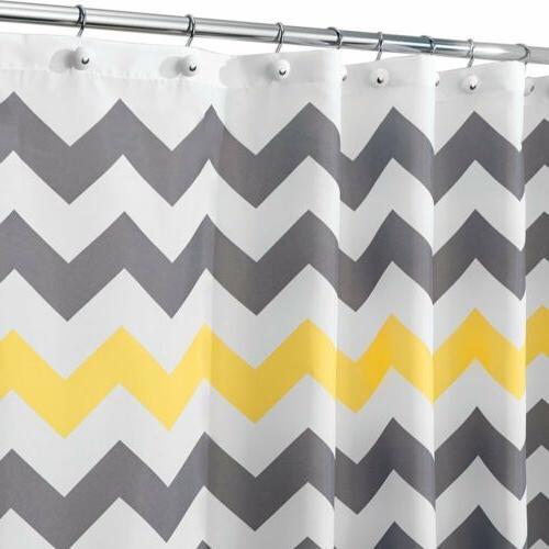 Chevron x 72-Inch Gray/Yellow Bath Repellent Fabric