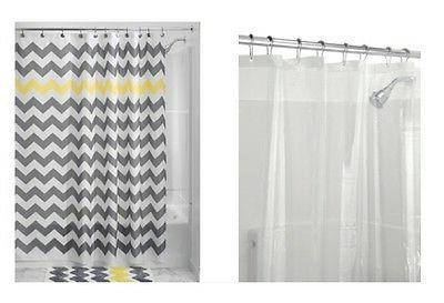 InterDesign Chevron Shower Curtain, Gray/Yellow & Shower Cur