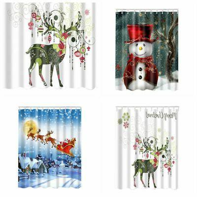 Christmas Bathroom Shower Curtain With 12 Hooks