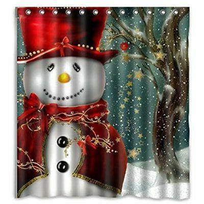 christmas bathroom waterproof fabric shower curtain snowman