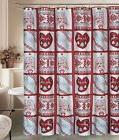 Christmas Rustic Deer Snowflake Shower Curtain 12 Shower Hoo