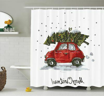 Ambesonne Christmas Shower Curtain Red Retro Style Car Xmas