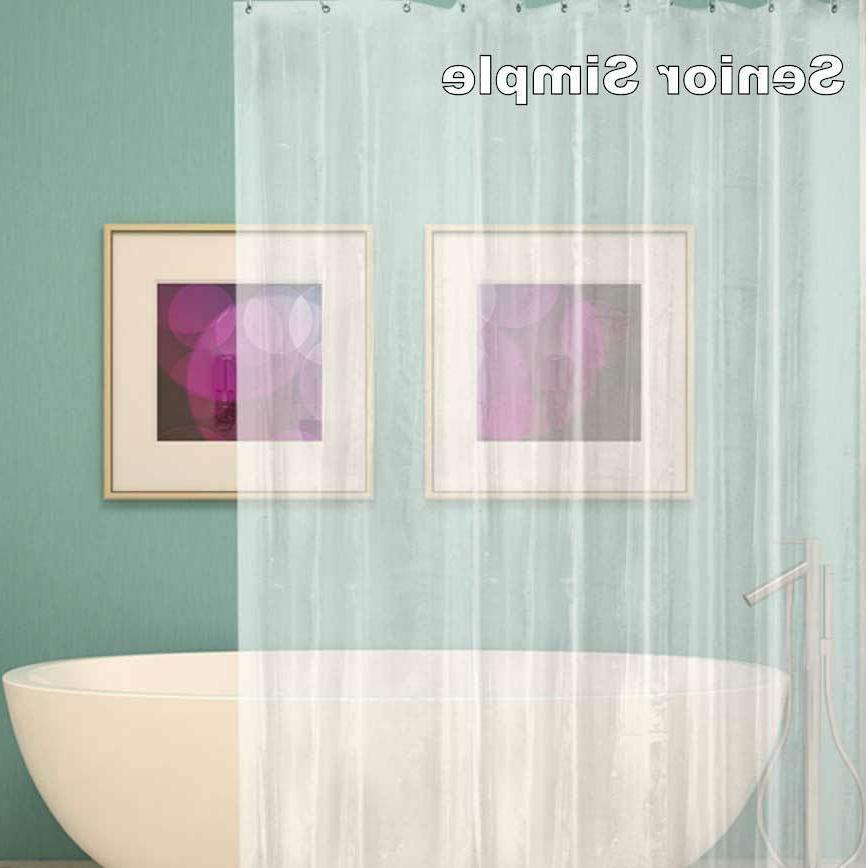 Clear Shower Curtain Anti-Bacterial PEVA 12 Hooks Water US