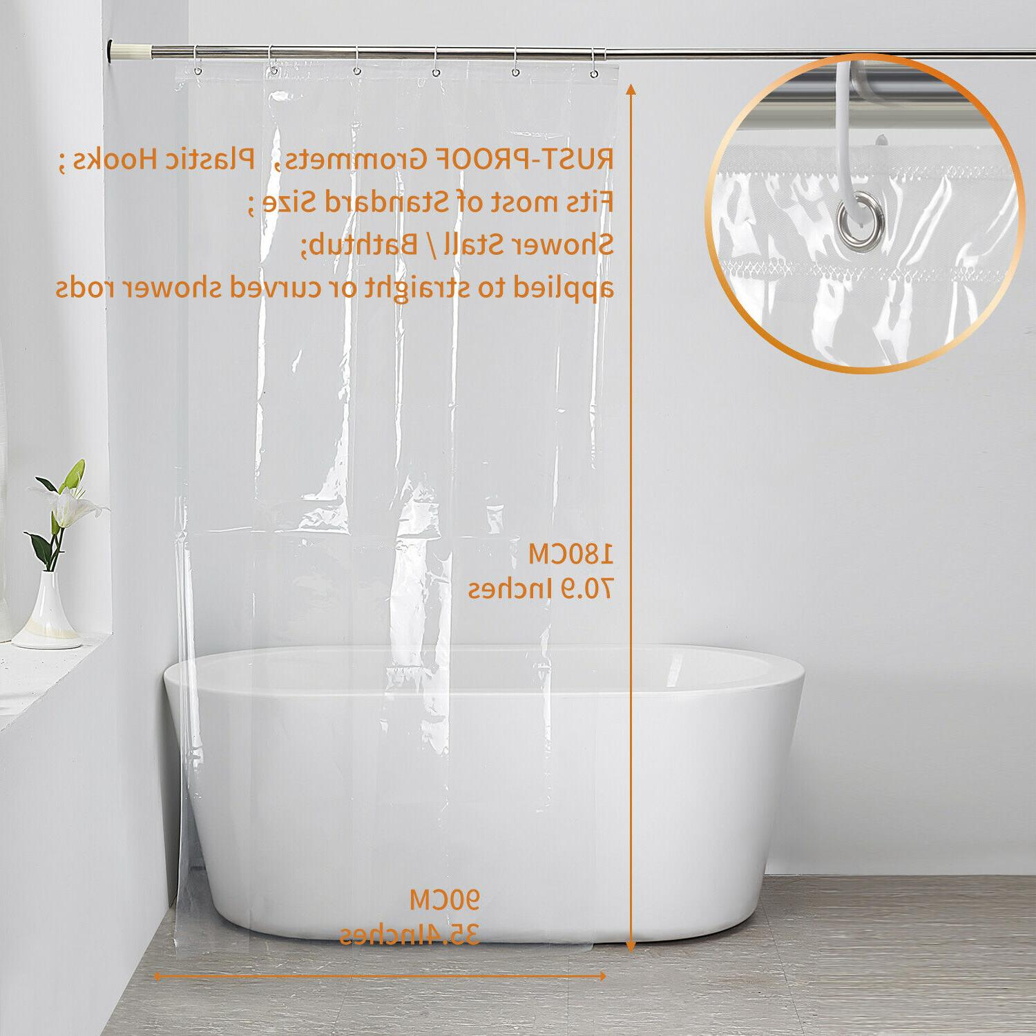 Clear Shower Water Curtain Liner Mildew Resistant