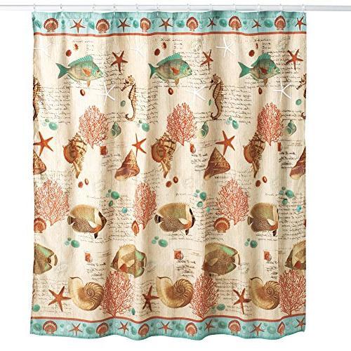 coastal seaside vintage shower curtain