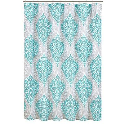coco shower curtain teal and grey printed