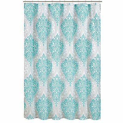 coco shower curtain teal grey