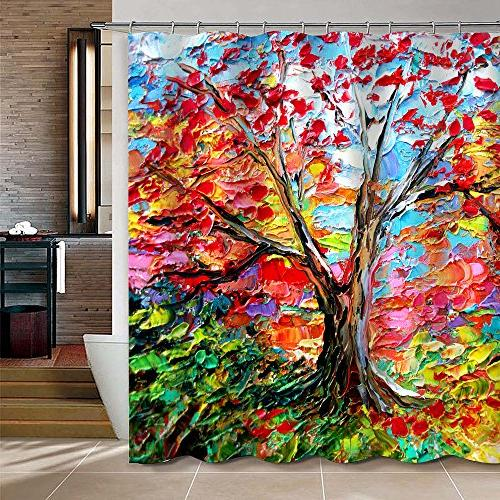 colorful oil painting tree pattern