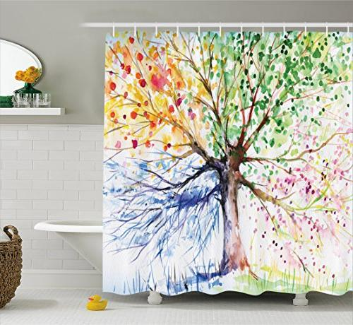 colorful tree four seasons shower