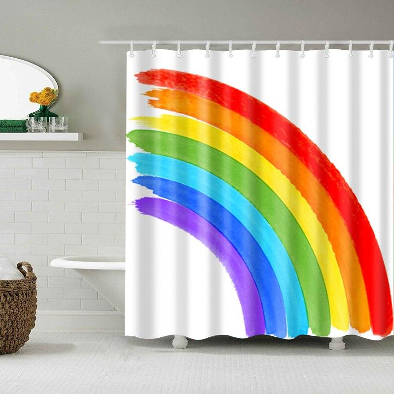 Rainbow Waterproof Bathroom <font><b>Curtains</b></font> <font><b>Curtains</b></font> for Bathroom