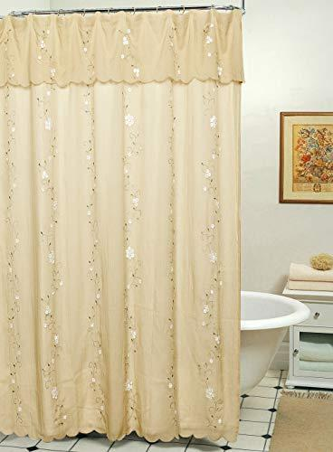 Creative Linens Daisy Embroidered Floral Fabric Shower Curta