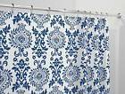 "mDesign Damask Fabric Shower Curtain - Long, 72"" x 84"", Navy"