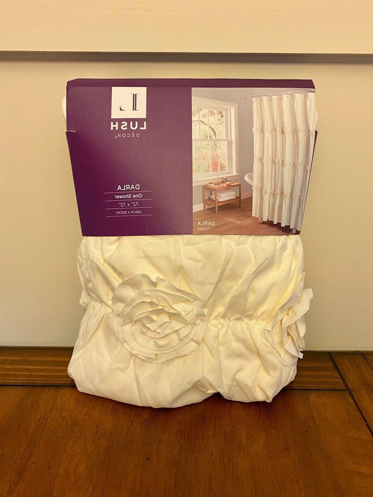 Lush Decor Darla Shower Curtain White 72 by 72-Inch