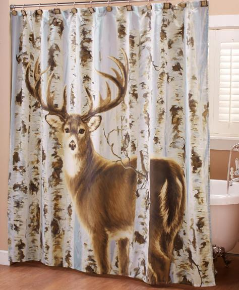 Deer Shower Curtain Country Bathroom Accessories Lodge Cabin