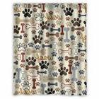 KXMDXA Dog Paws and Bones Pattern Bathroom Shower Curtain, 1