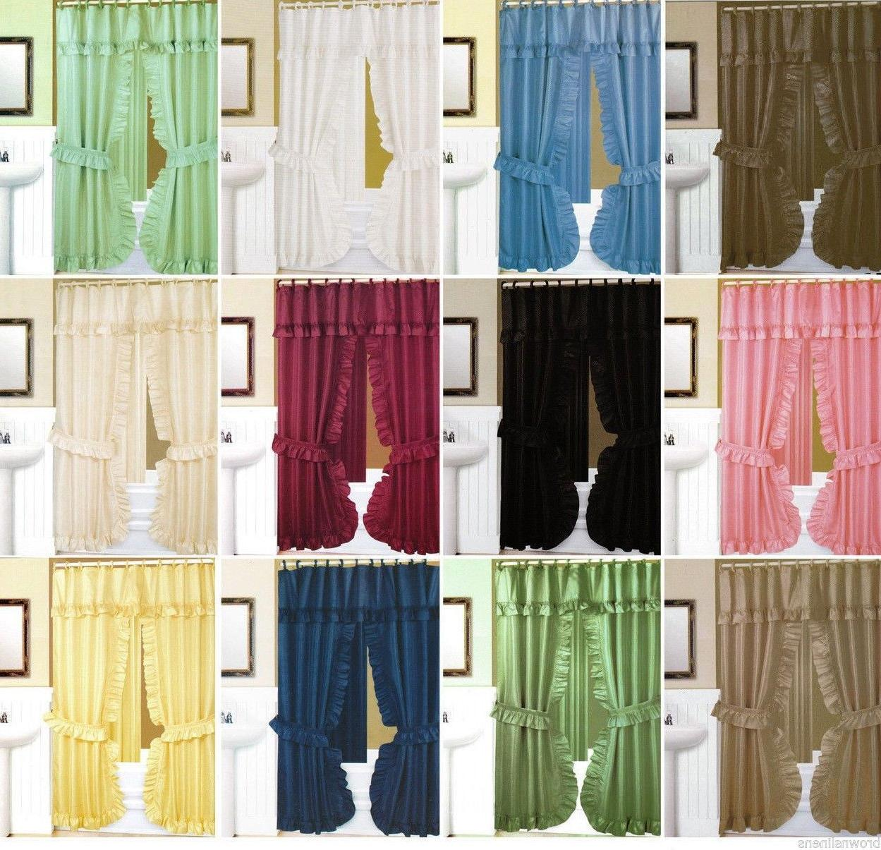 double swag fabric shower curtain liner rings