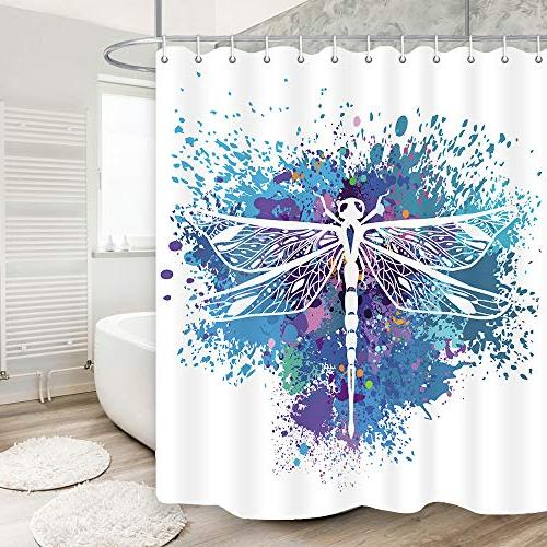 KOTOM Dragonfly Boho Curtain, Insect Animal on Colorful Backdrop Paint Splashes Style Mildew Resistant Fabric Decor, with