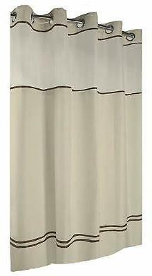 HOOKLESS ESCAPE SHOWER CURTAIN WITH SNAP-IN LINER, SAND WITH