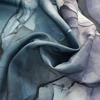 Curtain, 96-Inch Pastel and Blue Art Paint
