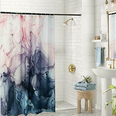 Extra Long Fabric Curtain, Pastel Blush and Blue Paint