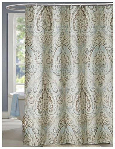 Lanmeng Extra Long Fabric Shower Curtain Classic Paisley