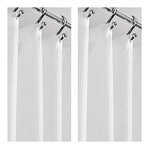 """mDesign Extra Tall Light Polyester with Reinforced Buttonholes, Showers and Bathtubs Woven Geometric Square 72"""" x 84"""", of"""