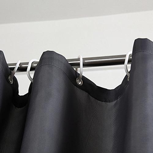 Aoohome Long Shower Curtain 84 Inch, Solid Fabric Curtain for Mildew Dark Grey