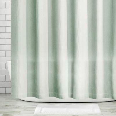 mDesign LONG Weave Fabric Shower Curtain -