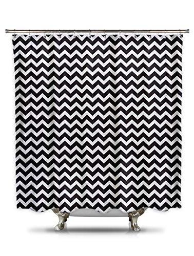 Fabric Shower Curtain Bathroom Bath Chevron Black White Poly