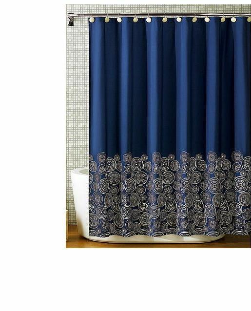 fabric Navy Shower Curtain