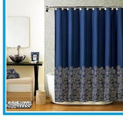 fabric navy blue shower