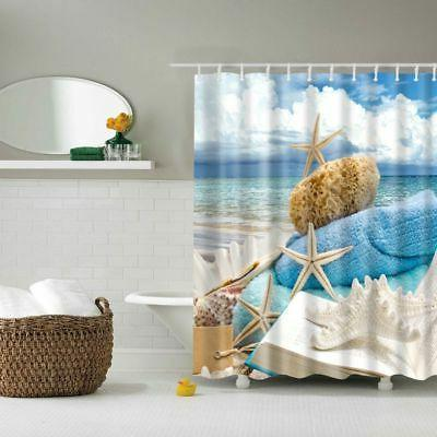 Fabric Curtain Bathroom Seashell Bath Hooks